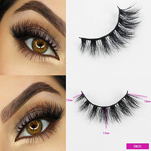 Beauty : Sassina 1 Pair Natural False Eyelashes Makeup Eyelash Extension Long Mink Eyelashes Winged Wispy Fake Eye Lashes Soft 3D Mink Lashes DM35