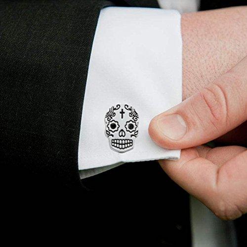 THREE KEYS JEWELRY Mens Skull Cufflinks Black Vintage Fashion Style Cuff-Link for Business Wedding Shirt Dress