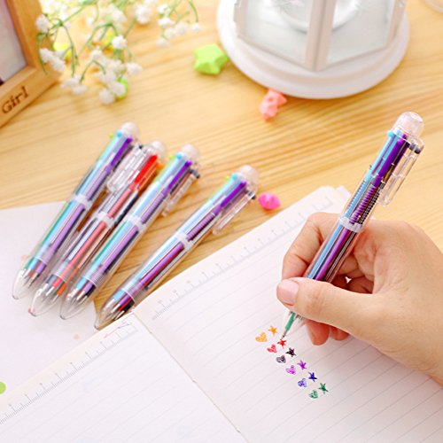 Multicolor Highlighters Marker Pens Multifunctional Ballpoint Pen Press Ball Point Pen 6 In 1 Creative Gift Pen Novelty Stationery Pack of 5