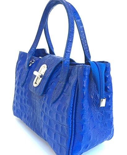 Bluette Modello Milena Pelle Small Italy Bauletto Donna Made Stampa Vera Superflybags Borsa Coccodrillo In qF8OB