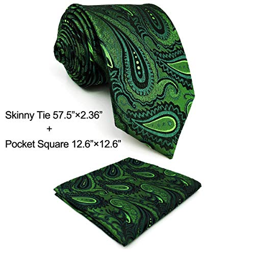 Shlax & Wing Mens Necktie Paisley Dark Green Silk Tie Wedding New Design Skinny 2.35'' by S&W SHLAX&WING
