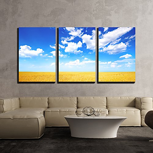 wall26 - 3 Piece Canvas Wall Art - Wheat Field and Blue Sky with Clouds - Modern Home Decor Stretched and Framed Ready to Hang - 16