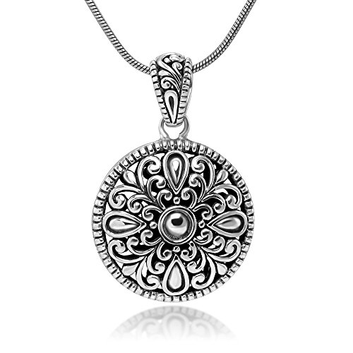 Sterling Silver Filigree Mandala Flower Antique Design Round Pendant Necklace w/ 18