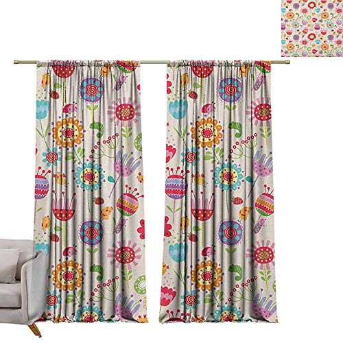 - berrly Shades Window Treatment Valances Curtains Floral,Cartoon Drawing Style Ladybug Strawberry Bird Caterpillar Vibrant Colored Characters, Multicolor W108 x L84 Thermal Insulated Blackout Curtains