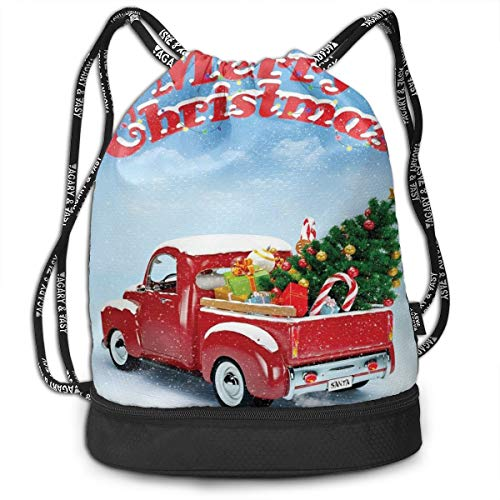 Fashion Gym Gift Printed Drawstring Backpacks Bags,Pickup Truck Filed With Ornament Cold December Weather Snowflakes Merry Christmas,Adjustable String Closure For Men And Women