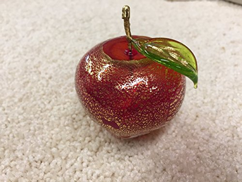Authentic Murano Glass Blown Apple, Red