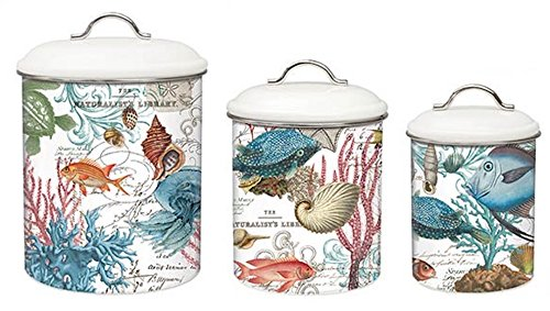 Michel Design Works 3-Piece Metal Kitchen Canister Set, Sea Life