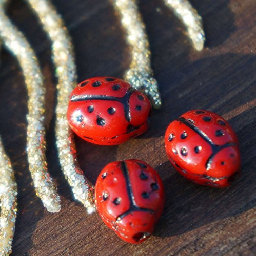 Opaque Red Black Dotted Czech Glass Ladybug Beads Insect Animal Bohemian Halloween 9mm x 7mm (Glass Beaded Ladybug)