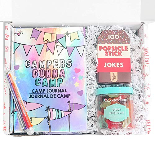 STRONG self(ie) Happy Camper Summer Camp Care Package for Girls with Journal, Multicolor Pen, Ice Breaker Jokes and Butterfly Gummy Candies - A Sleep Away Camp Gift Box (Best Popsicle Stick Jokes)