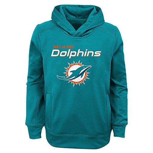 """NFL Miami Dolphins Youth Boys """"Goal Line Stand"""" Performance Fleece Hoodie Aqua, Youth Small(8)"""