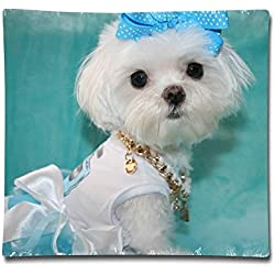 Designer Maltese Dog Two Sides Printed Polyester Velvet Throw Pillow Case For Car Bed Size 18x18 Inch