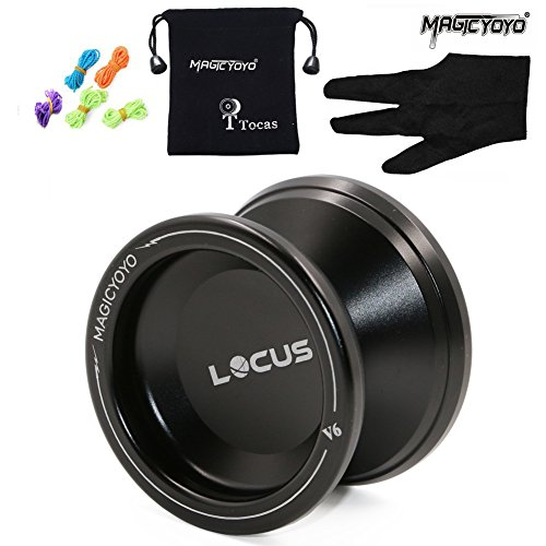 Magic Yoyo Ball V6 Locus Spase Aluminum Metal Responsive Yoyos for Kids Beginners Learner with Bag Glove 5 (Black Metal Yoyo)