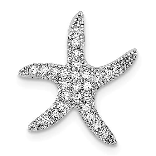 925 Sterling Silver Cubic Zirconia Cz Starfish Slide Pendant Charm Necklace Chain Fine Jewelry Gifts For Women For Her