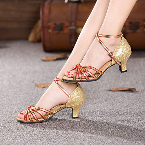 FidgetFidget Women Dancing Sandals Open Toe Ballroom Dance Party Latin Shoes HeelBlack-redUS7=EU38