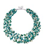 HinsonGayle 'Kayla' 5-Strand Handwoven White Freshwater Cultured Pearl & Turquoise Necklace-20 in length