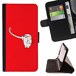- SELFIE PARODY ELEPHANT FUNNY TRUNK LONG WHITE - - Prima caja de la PU billetera de cuero con ranuras para tarjetas, efectivo desmontable correa para l Funny House FOR Sony Xperia m55w Z3 Compact Mini