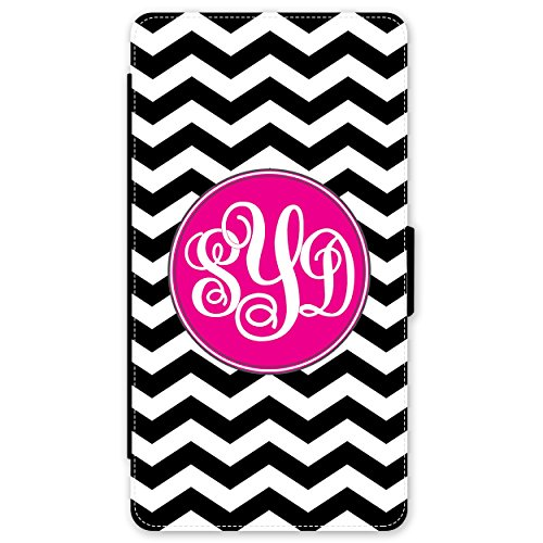 iPhone 8 PLUS Wallet Case Black Chevron Hot Pink Monogram Monogrammed Personalized iPhone 8 PLUS Wallet Case (5.5 inch) by Simply Customized (Pink Monogram Iphone)