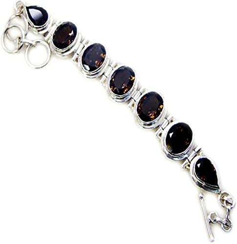 55Carat Natural Vintage Style Smoky Quartz Bracelet Sterling Silver Jewelry for Gift Length 6.5-8 Inches
