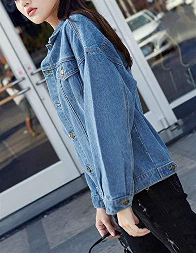 Primaverile Base Blau Cappotto Bavero Relaxed Forti Fashion Stile Donna Outerwear Lunga Taglie Manica Giacche Coat Giacca Jeans Casual Eleganti Autunno Fidanzato wIRFvwqn