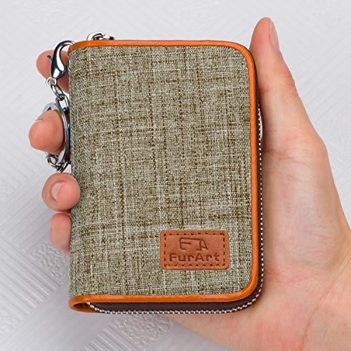 FurArt Credit Card Wallet, Zipper Card Cases Holder for Men Women, RFID Blocking, Key Chain, Compact Size