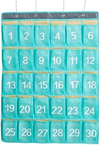 dewdropy Klassenzimmer Tasche, Hängeorganizer Oxford Stoff Nummeriert Klassenzimmer Taschenkarten mit 4 Haken Für Handys Hängen Veranstalter 30 Taschen