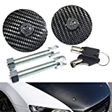 01 ford mustang hood - Universal 100% Carbon Fiber Front Hood Latch Pin Key Locking Kit Black Racing Sport Mount Bonnet Nismo Car Sedan Coupe