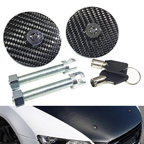 Universal 100% Carbon Fiber Front Hood Latch Pin Key Locking Kit Black Racing Sport Mount Bonnet Nismo Auto Sedan Coupe (Neon Hood Pins)