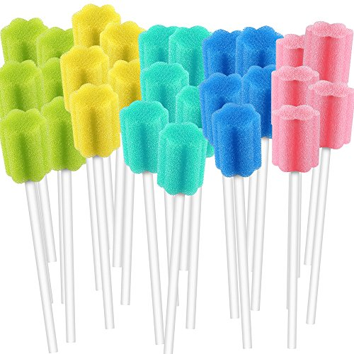 - 250 Count Unflavored Disposable Oral Swabs, Tooth Shape for Oral Cavity Cleaning Sponge Swab Individually Wrapped - 5 colors