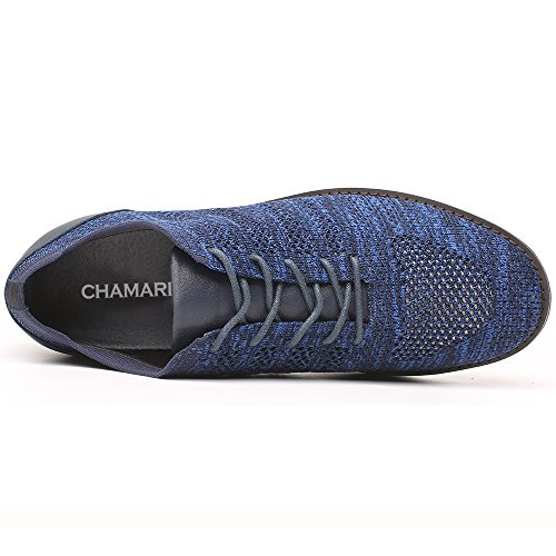 2 Inches Men's CHAMARIPA Casual Blue Insoles Shoes Loafers Grey 36 Increasing Height xXdgqOd0