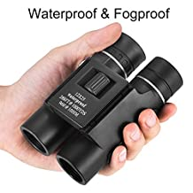 OMZER 12X25 Waterproof Fogproof Compact Binoculars With Low Light Night Vision, Easy Focus Fit For Adults And Kids, High-Powered Lightweight For Bird Watching, Hunting, Hiking, Outdoor Sports