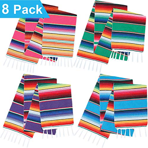 Zhanmai 8 Pieces Mexican Serape Table Runners Serape Mexican Table Blanket Fringe Cotton Table Runner for Outdoor Picnics Dining Wedding Party Decorations