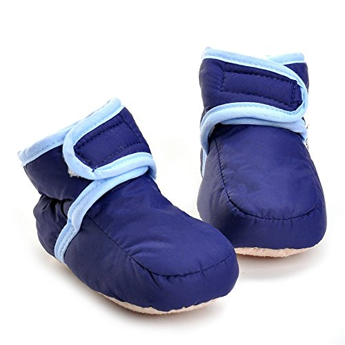 Baby Boys' Hook-and-loop Winter Warm Boots Crib Shoes Navy US 5