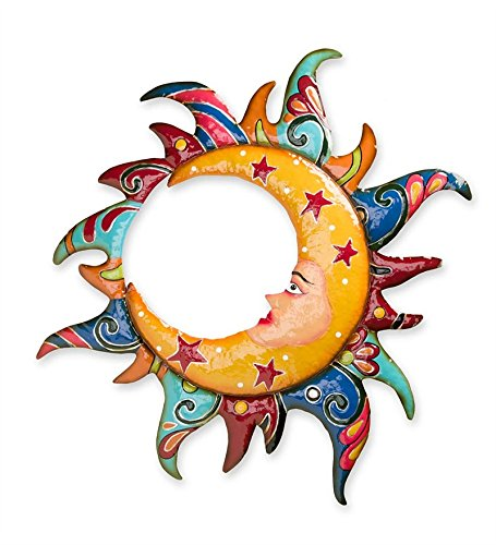 Talavera-Style Moon in Sun Metal Wall Art - Moon Wall Face Art