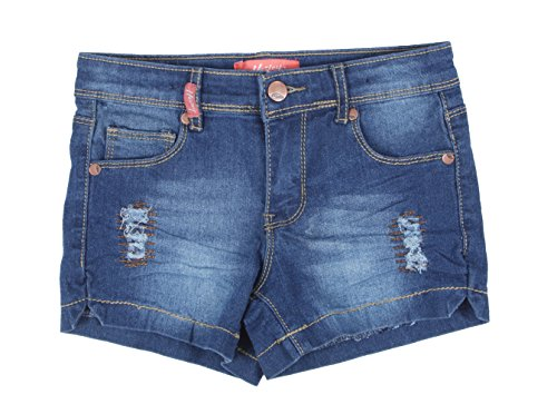 Fashion2Love 7H036(SH) - Girls' Stretch 5 Pockets Rip and Repair Denim Jeans Shorts in Washed Blue Size 8 ()