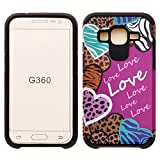 Galaxy Wireless Shock Absorption Hybrid Dual Layer Armor Defender Protective Case for Samsung Galaxy Core Prime - Hearts with Animal Prints