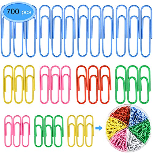 Colored Paper Clips 700 Pieces, EAONE Vinyl Coated Metal Paper Clips 50mm 33mm 28mm Document Paper Organizer Clips for Office School Home, Colors