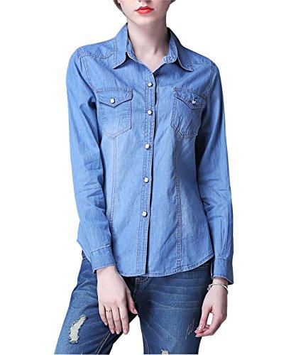 Yeokou Womens Classic Long Sleeve Button Down Denim Chambray Jean Shirt