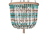 KOUBOO Draped Wood Bead Pendant Lamp, White and Turquoise