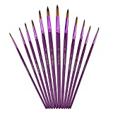 #3: Mudder 12 Pieces Artist Paint Brushes Fine Paint Brush for Acrylic Watercolor Oil Painting, Purple