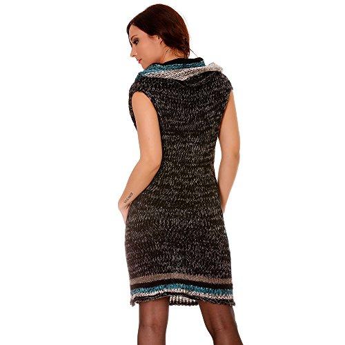 Miss Wear Line - Longue tunique col boule sans manche en noir