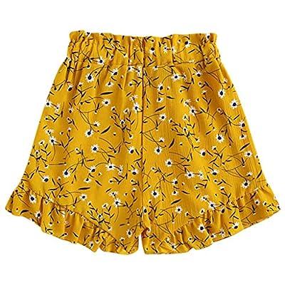 TUDUZ Mujer Pantalones Bohemio Volantes Estampado Floral Pantalón Corto: Ropa y accesorios