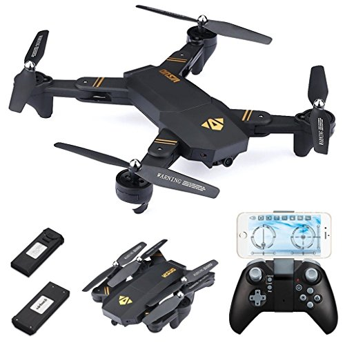 Virhuck VISUO XS809W Drone with Camera 720P Foldable RC Quadcopter 2.4 GHz, with Dual Batteries 900mAh, WiFi FPV Quadcopter with Live Video Mobile APP Control Altitude Hold Mode Selfie RC Helicopter