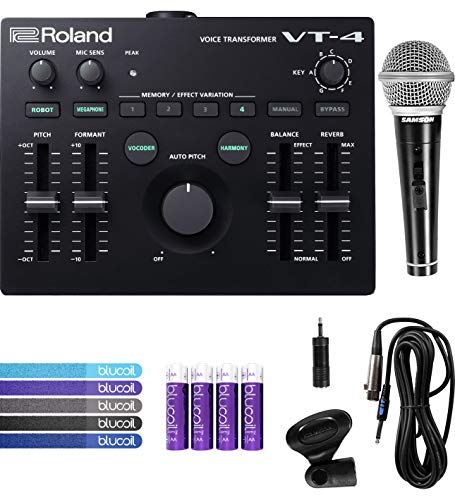 Roland VT-4 Voice Transformer Vocal Effects Processor with Built-In Noise Gate Bundle with Samson R21S Dynamic Microphone, Blucoil 5-Pack of Reusable Cable Ties, and 4 AA Batteries