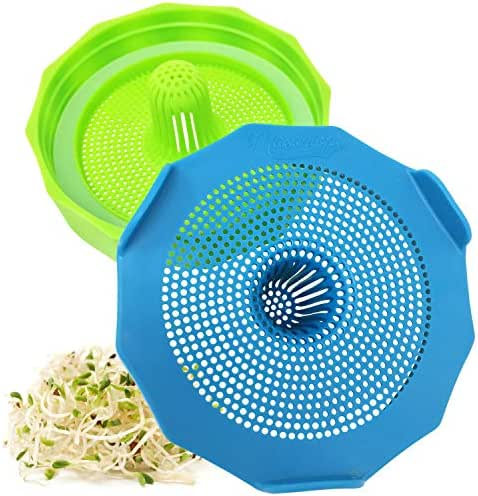 Masontops Bean Screen Plastic Mason Jar Sprouting Lids for Wide Mouth Mason Jars – Grow Bean Sprouts, Alfalfa, Salad Sprouts and More – 2 Pack