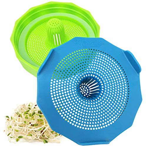 Masontops Bean Screen Plastic Mason Jar Sprouting Lids for Wide Mouth Mason Jars - Grow Bean Sprouts, Alfalfa, Salad Sprouts and More - 2 Pack