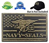Patch USA American Flag Navy Seals Patch Military Tactical Morale Badge Patch Embroidered Patch 3.15' x 1.97'(Black+Green)