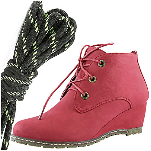 DailyShoes Womens Fashion Lace Up Round Toe Ankle High Oxford Wedge Bootie, Black Lime Red Pu