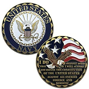 US Navy Challenge Coin with Eagle Emblem, American Flag, and Oath of Enlistment by VetFriends.com