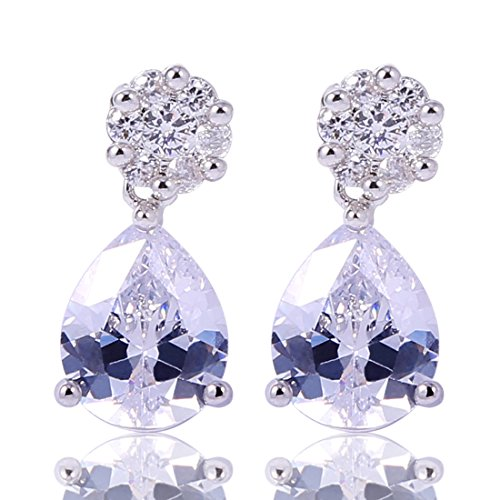 GULICX Silver Plated Base White Topaz Cubic Zirconia Rhitestone Vogue Stud dangle - Is Vogue How Much