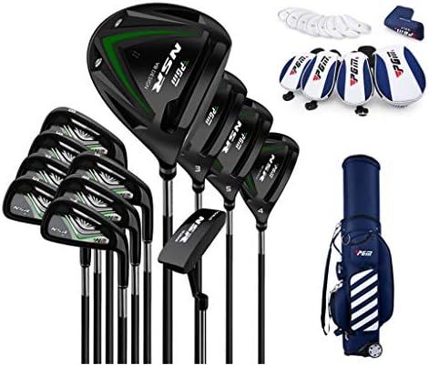 ゴルフスーツバッグ メンズ用 クラブセット (クラブ12本・キャディバッグ付)アップ 高反発調整可能シャフト/カーボンチタンドライバー (Color : Black/steel body+telescopic bag)